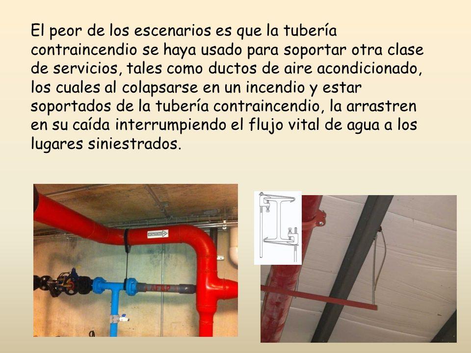 El peor de los escenarios es que la tubería contraincendio se haya usado para soportar otra clase de servicios, tales como ductos de aire acondicionad