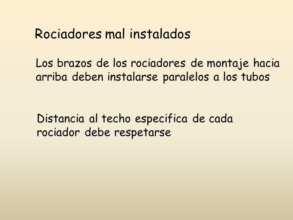 Rociadores mal instalados Los brazos de los rociadores de montaje hacia arriba deben instalarse paralelos a los tubos Distancia al techo especifica de