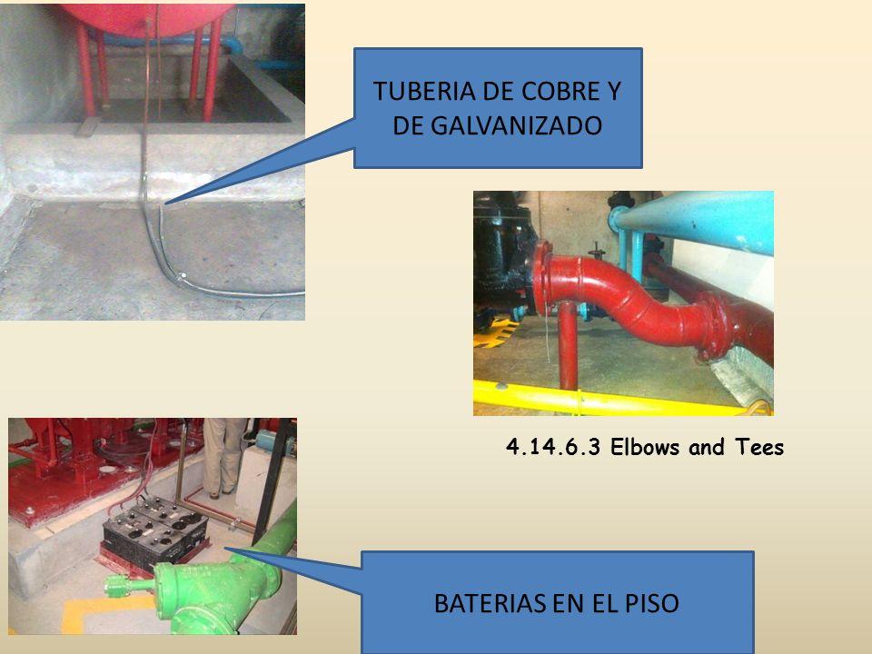 TUBERIA DE COBRE Y DE GALVANIZADO BATERIAS EN EL PISO 4.14.6.3 Elbows and Tees