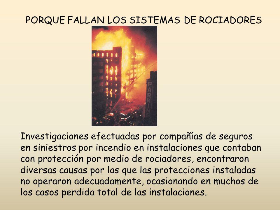 PORQUE FALLAN LOS SISTEMAS DE ROCIADORES Investigaciones efectuadas por compañías de seguros en siniestros por incendio en instalaciones que contaban