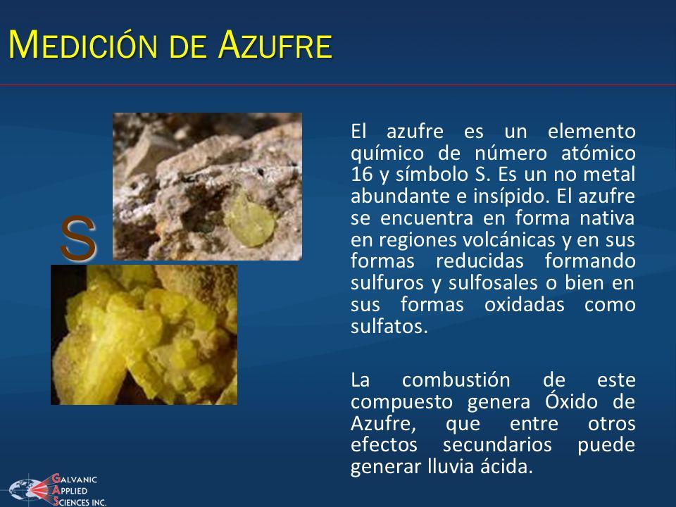 M EDICIÓN DE A ZUFRE El azufre es un elemento químico de número atómico 16 y símbolo S. Es un no metal abundante e insípido. El azufre se encuentra en