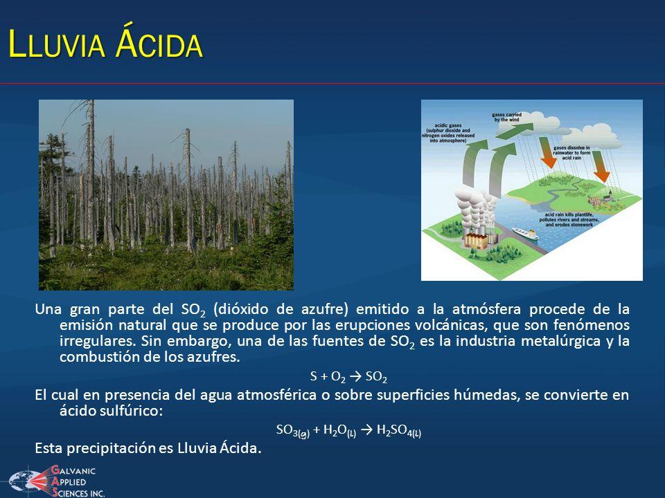 L LUVIA Á CIDA Una gran parte del SO 2 (dióxido de azufre) emitido a la atmósfera procede de la emisión natural que se produce por las erupciones volc