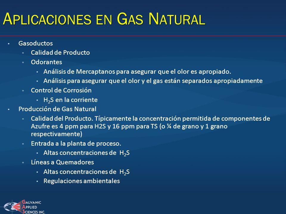 A PLICACIONES EN G AS N ATURAL Gasoductos Calidad de Producto Odorantes Análisis de Mercaptanos para asegurar que el olor es apropiado. Análisis para