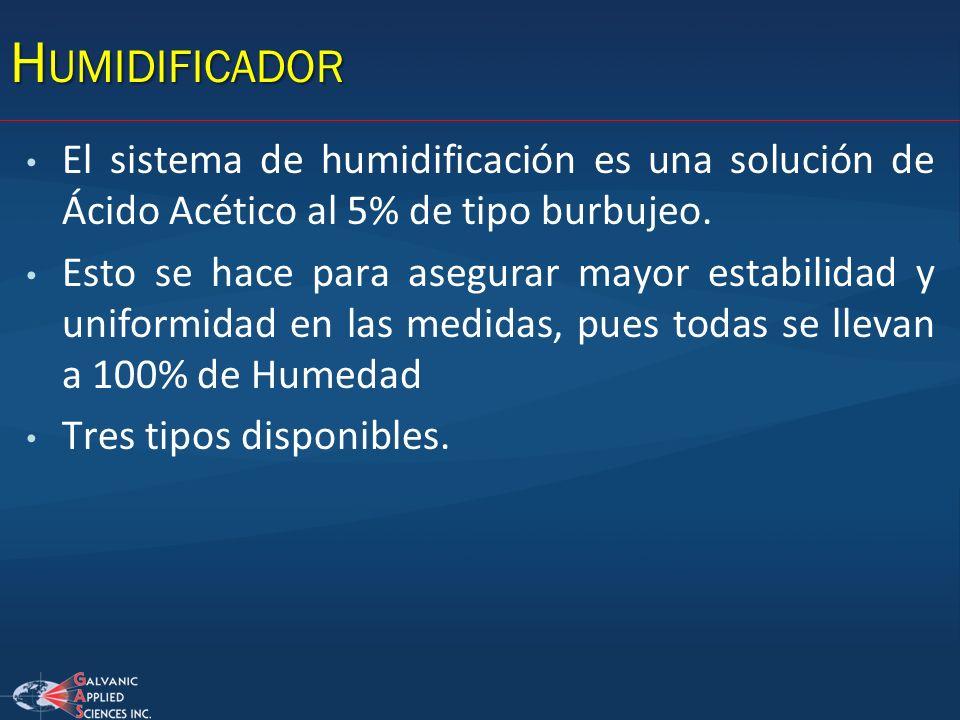 H UMIDIFICADOR El sistema de humidificación es una solución de Ácido Acético al 5% de tipo burbujeo. Esto se hace para asegurar mayor estabilidad y un
