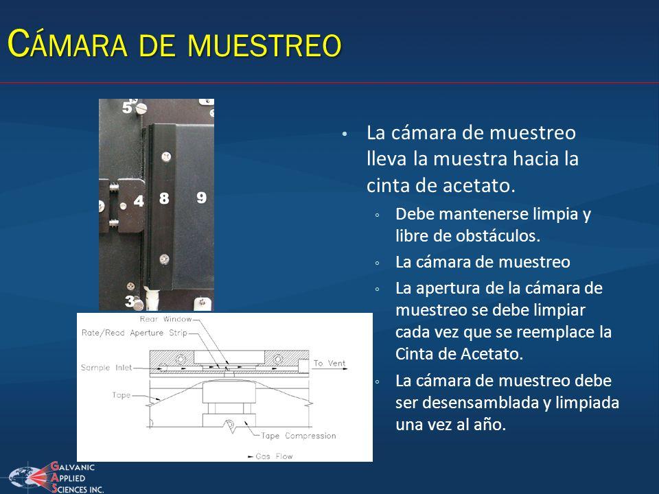 C ÁMARA DE MUESTREO La cámara de muestreo lleva la muestra hacia la cinta de acetato. Debe mantenerse limpia y libre de obstáculos. La cámara de muest