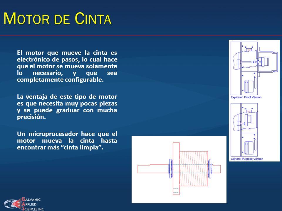 M OTOR DE C INTA El motor que mueve la cinta es electrónico de pasos, lo cual hace que el motor se mueva solamente lo necesario, y que sea completamen