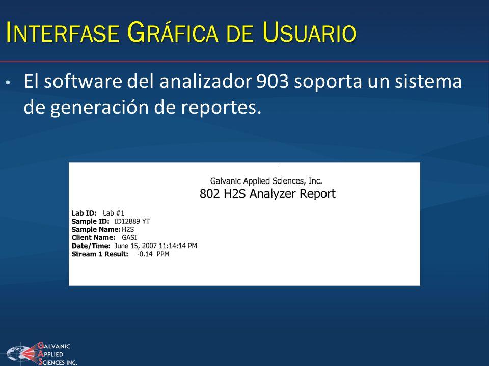 El software del analizador 903 soporta un sistema de generación de reportes.