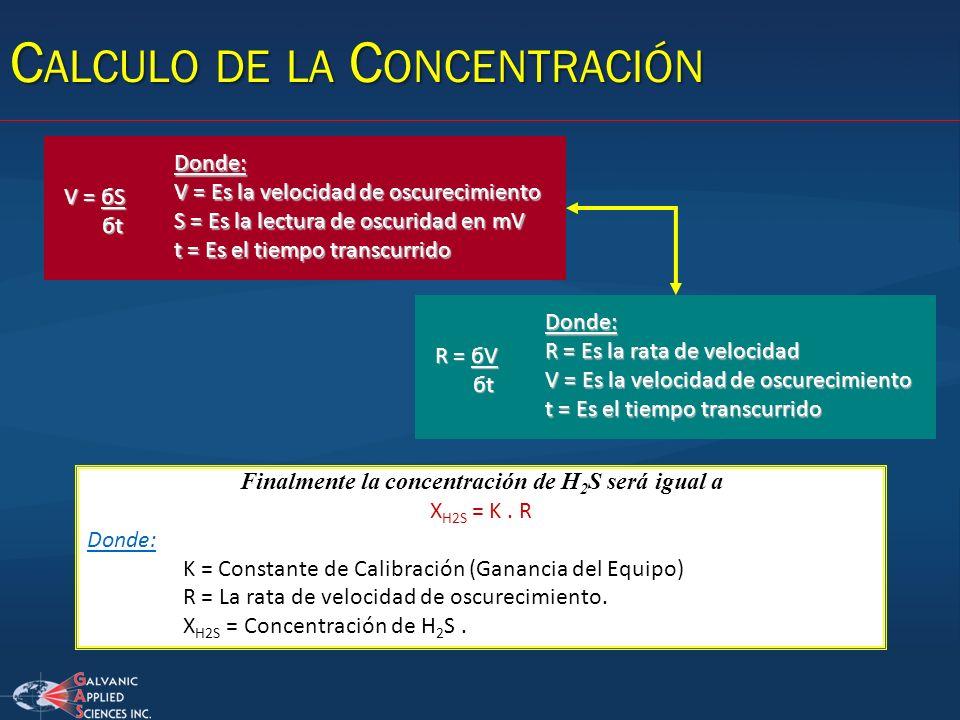 Finalmente la concentración de H 2 S será igual a X H2S = K. R Donde: K = Constante de Calibración (Ganancia del Equipo) R = La rata de velocidad de o