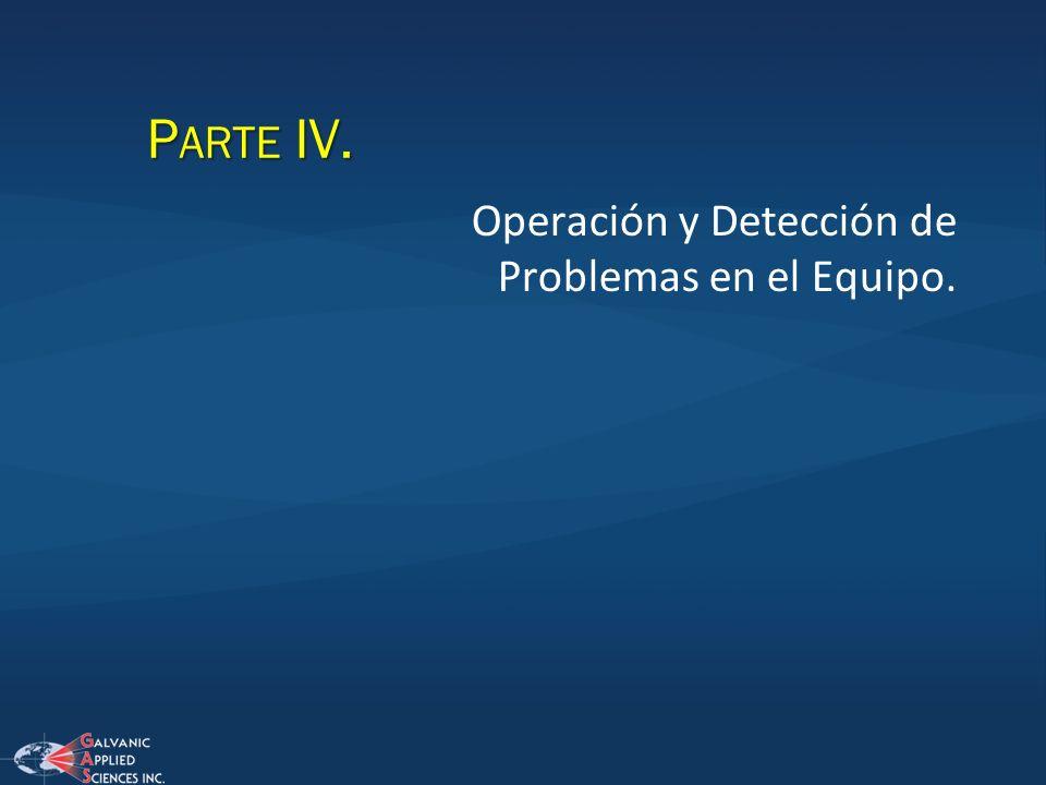 P ARTE IV. Operación y Detección de Problemas en el Equipo.