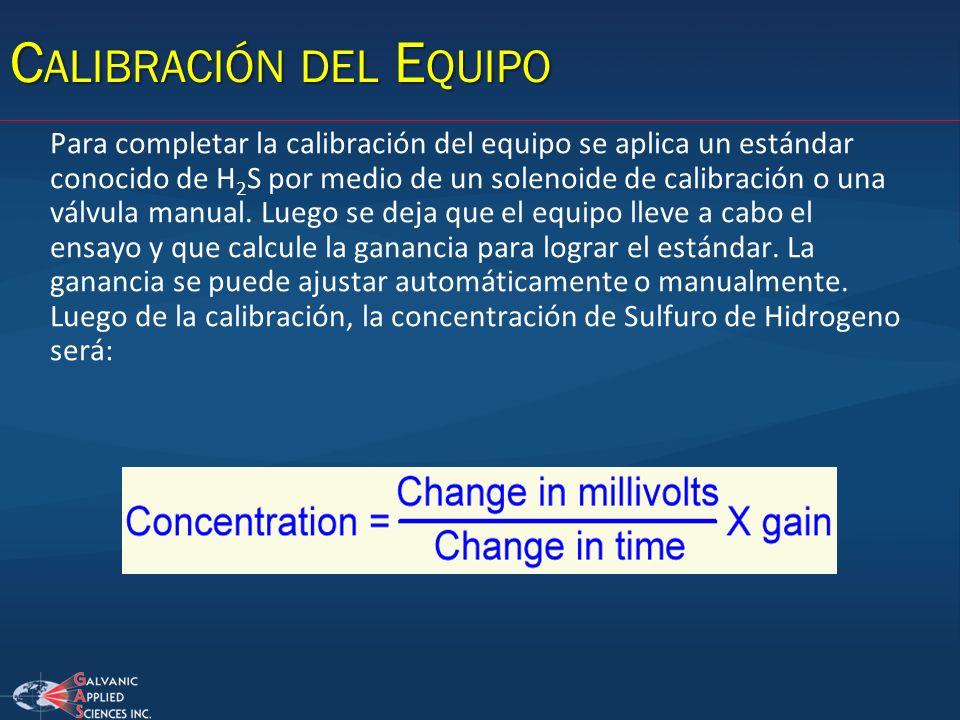 Para completar la calibración del equipo se aplica un estándar conocido de H 2 S por medio de un solenoide de calibración o una válvula manual. Luego