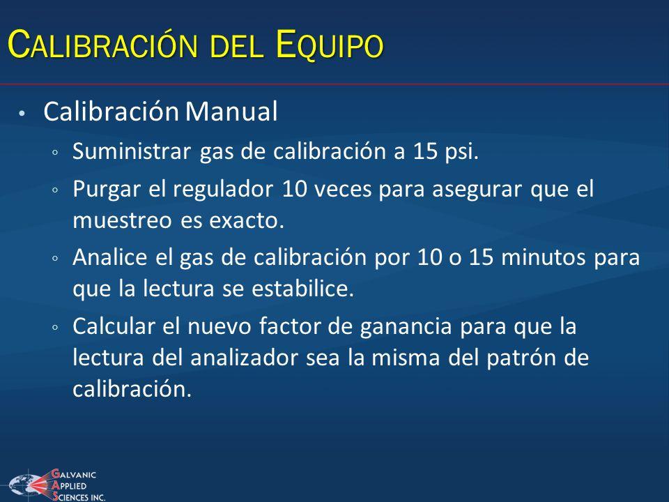 Calibración Manual Suministrar gas de calibración a 15 psi. Purgar el regulador 10 veces para asegurar que el muestreo es exacto. Analice el gas de ca