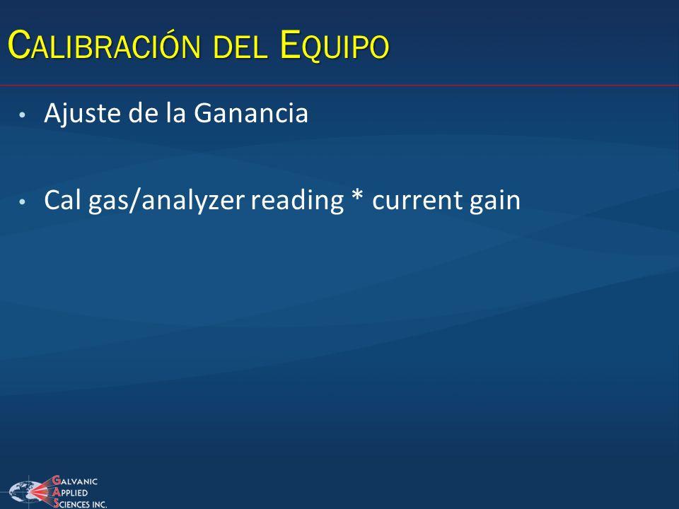 C ALIBRACIÓN DEL E QUIPO Ajuste de la Ganancia Cal gas/analyzer reading * current gain