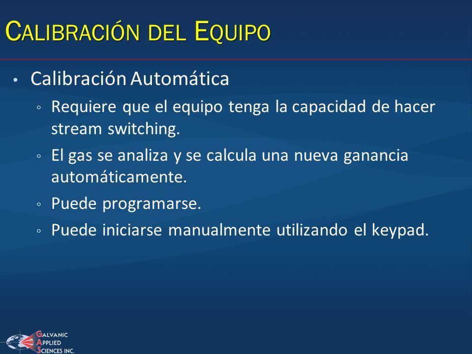 C ALIBRACIÓN DEL E QUIPO Calibración Automática Requiere que el equipo tenga la capacidad de hacer stream switching. El gas se analiza y se calcula un