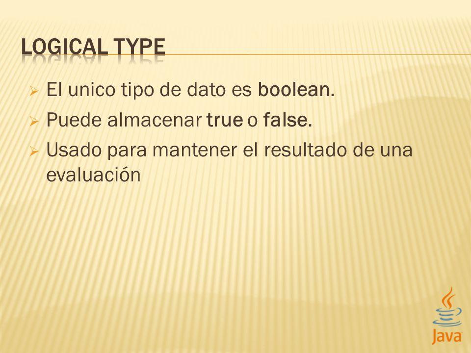 El unico tipo de dato es boolean. Puede almacenar true o false.