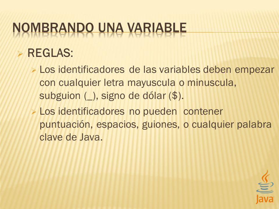 REGLAS: Los identificadores de las variables deben empezar con cualquier letra mayuscula o minuscula, subguion (_), signo de dólar ($).