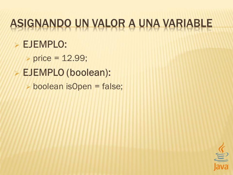 EJEMPLO: price = 12.99; EJEMPLO (boolean): boolean isOpen = false;