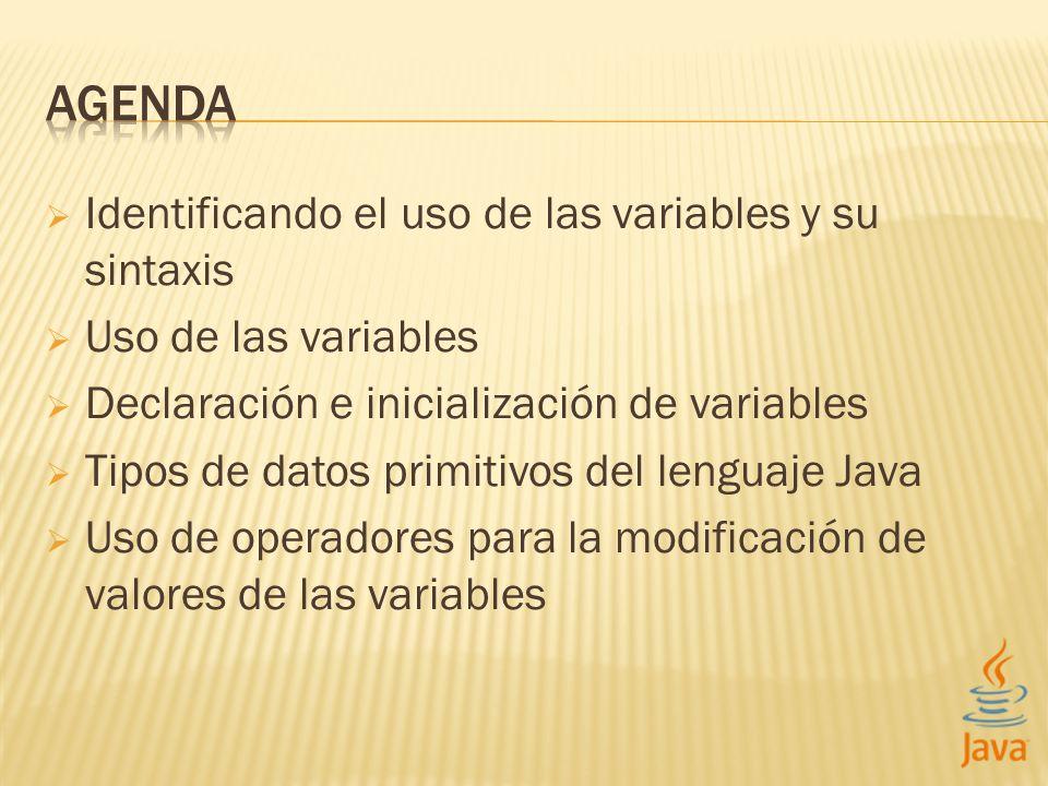 Identificando el uso de las variables y su sintaxis Uso de las variables Declaración e inicialización de variables Tipos de datos primitivos del lenguaje Java Uso de operadores para la modificación de valores de las variables