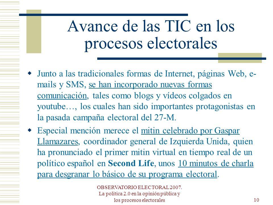 OBSERVATORIO ELECTORAL 2007. La politica 2.0 en la opinión pública y los procesos electorales10 Avance de las TIC en los procesos electorales Junto a