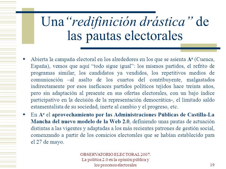 OBSERVATORIO ELECTORAL 2007. La politica 2.0 en la opinión pública y los procesos electorales19 Unaredifinición drástica de las pautas electorales Abi
