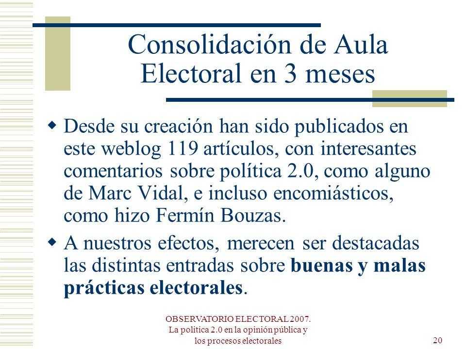 OBSERVATORIO ELECTORAL 2007. La politica 2.0 en la opinión pública y los procesos electorales20 Consolidación de Aula Electoral en 3 meses Desde su cr