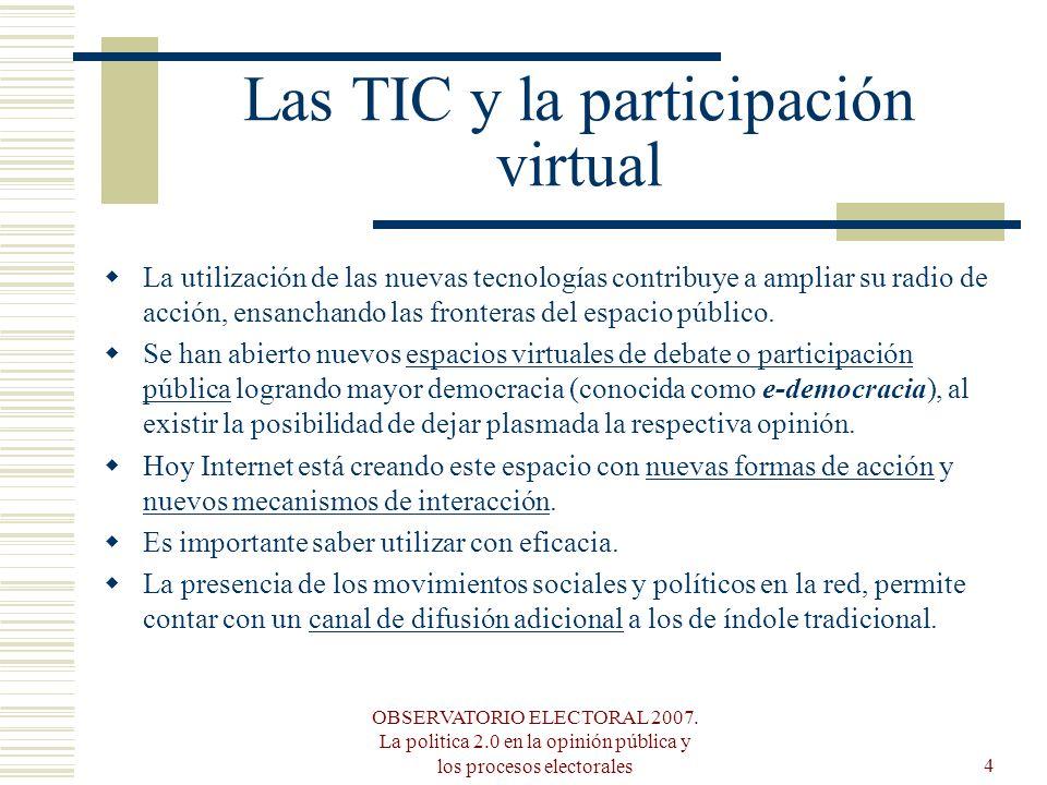 OBSERVATORIO ELECTORAL 2007. La politica 2.0 en la opinión pública y los procesos electorales4 Las TIC y la participación virtual La utilización de la