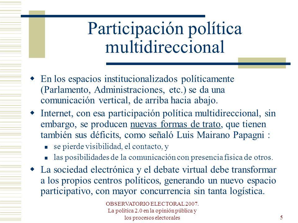 OBSERVATORIO ELECTORAL 2007. La politica 2.0 en la opinión pública y los procesos electorales5 Participación política multidireccional En los espacios