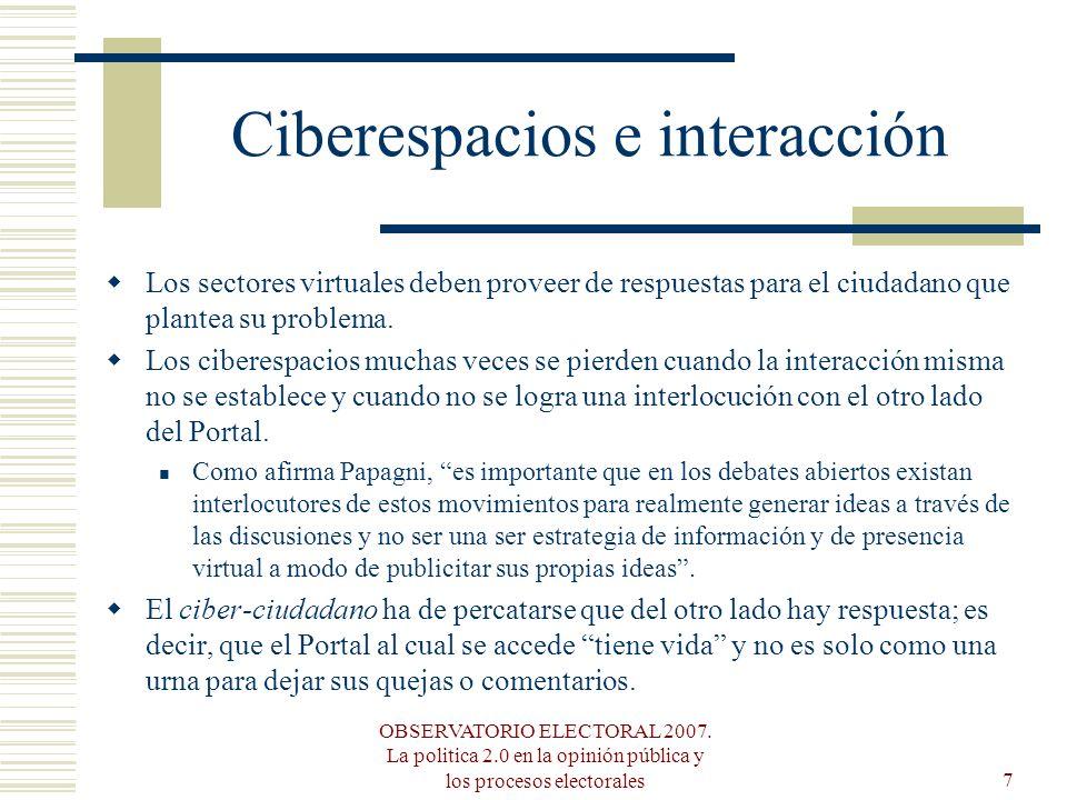 OBSERVATORIO ELECTORAL 2007. La politica 2.0 en la opinión pública y los procesos electorales7 Ciberespacios e interacción Los sectores virtuales debe