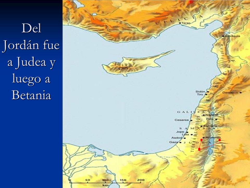 Del Jordán fue a Judea y luego a Betania...