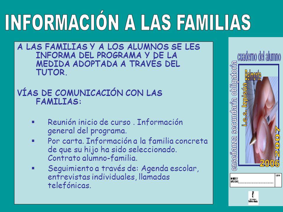 A LAS FAMILIAS Y A LOS ALUMNOS SE LES INFORMA DEL PROGRAMA Y DE LA MEDIDA ADOPTADA A TRAVÉS DEL TUTOR.