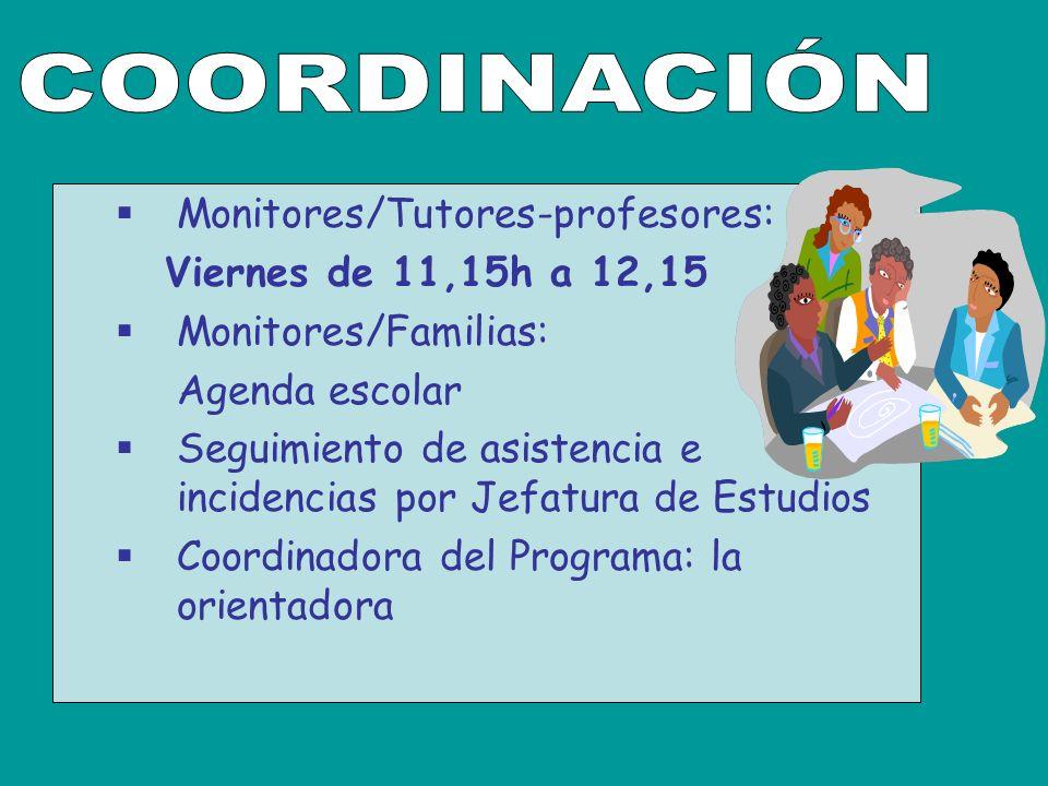 Monitores/Tutores-profesores: Viernes de 11,15h a 12,15 Monitores/Familias: Agenda escolar Seguimiento de asistencia e incidencias por Jefatura de Estudios Coordinadora del Programa: la orientadora