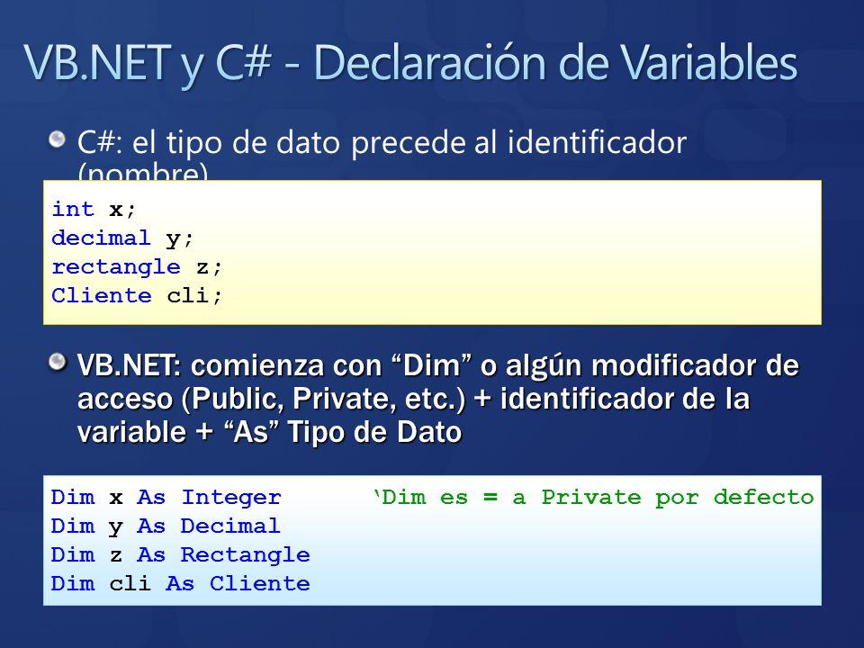 C#: el tipo de dato precede al identificador (nombre) VB.NET: comienza con Dim o algún modificador de acceso (Public, Private, etc.) + identificador d