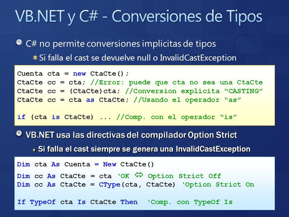 C# no permite conversiones implícitas de tipos Si falla el cast se devuelve null o InvalidCastException VB.NET usa las directivas del compilador Optio