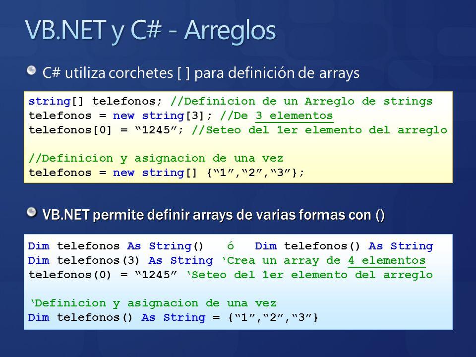 C# utiliza corchetes [ ] para definición de arrays VB.NET permite definir arrays de varias formas con () string[] telefonos; //Definicion de un Arregl
