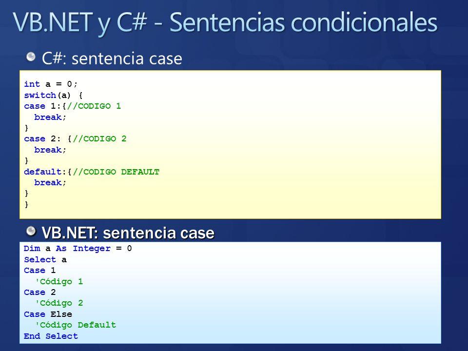 int a = 0; switch(a) { case 1:{//CODIGO 1 break; } case 2: {//CODIGO 2 break; } default:{//CODIGO DEFAULT break; } C#: sentencia case VB.NET: sentenci