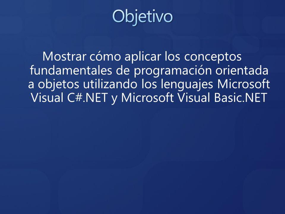 Mostrar cómo aplicar los conceptos fundamentales de programación orientada a objetos utilizando los lenguajes Microsoft Visual C#.NET y Microsoft Visu