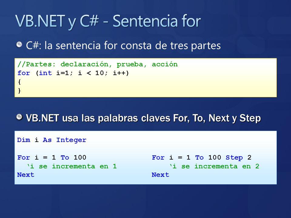 C#: la sentencia for consta de tres partes VB.NET usa las palabras claves For, To, Next y Step //Partes: declaración, prueba, acción for (int i=1; i <