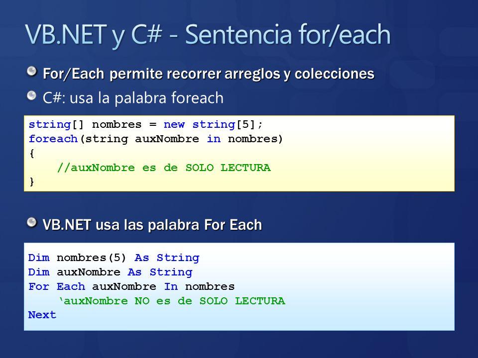 C#: usa la palabra foreach VB.NET usa las palabra For Each string[] nombres = new string[5]; foreach(string auxNombre in nombres) { //auxNombre es de