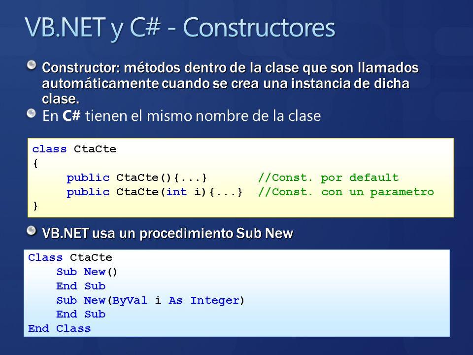 En C# tienen el mismo nombre de la clase VB.NET usa un procedimiento Sub New class CtaCte { public CtaCte(){...} //Const. por default public CtaCte(in