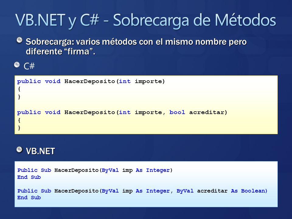 C# VB.NET public void HacerDeposito(int importe) { } public void HacerDeposito(int importe, bool acreditar) { } Public Sub HacerDeposito(ByVal imp As