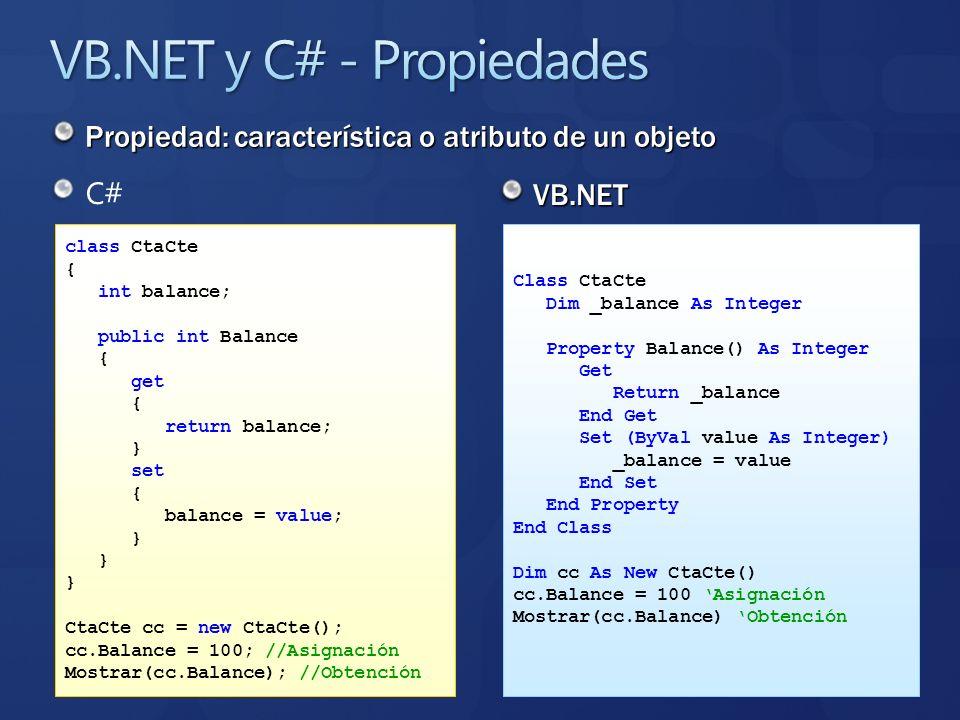 Propiedad: característica o atributo de un objeto C# VB.NET class CtaCte { int balance; public int Balance { get { return balance; } set { balance = v