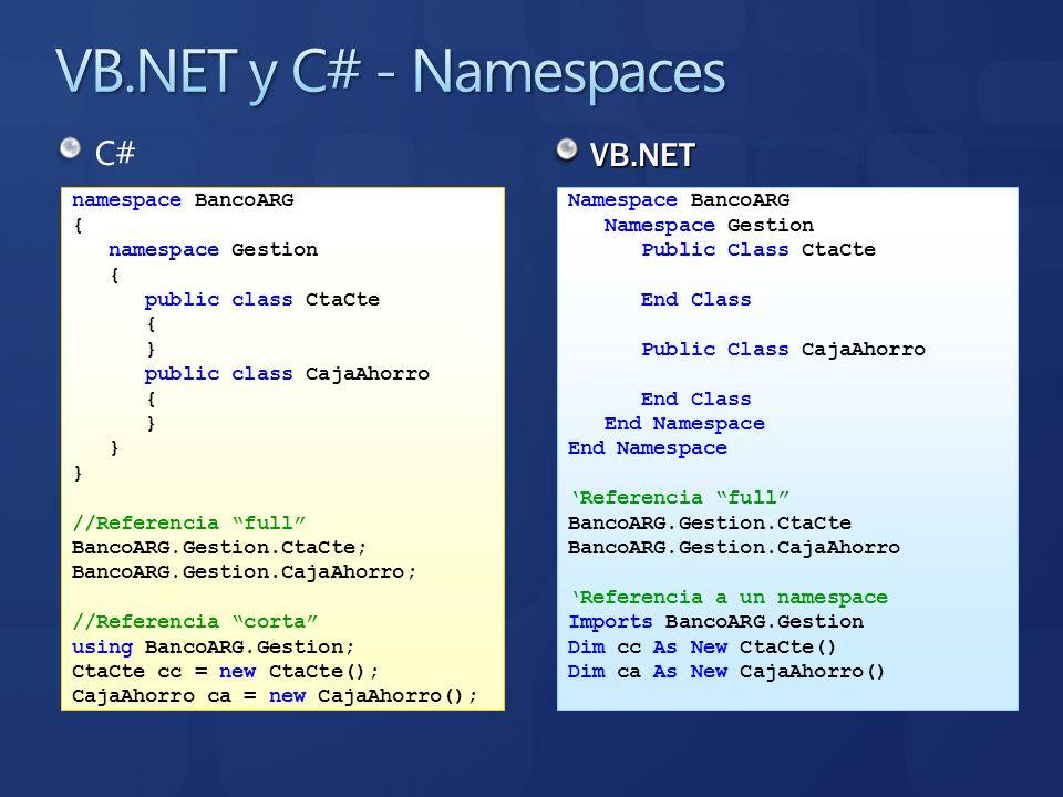 C# VB.NET namespace BancoARG { namespace Gestion { public class CtaCte { } public class CajaAhorro { } //Referencia full BancoARG.Gestion.CtaCte; Banc