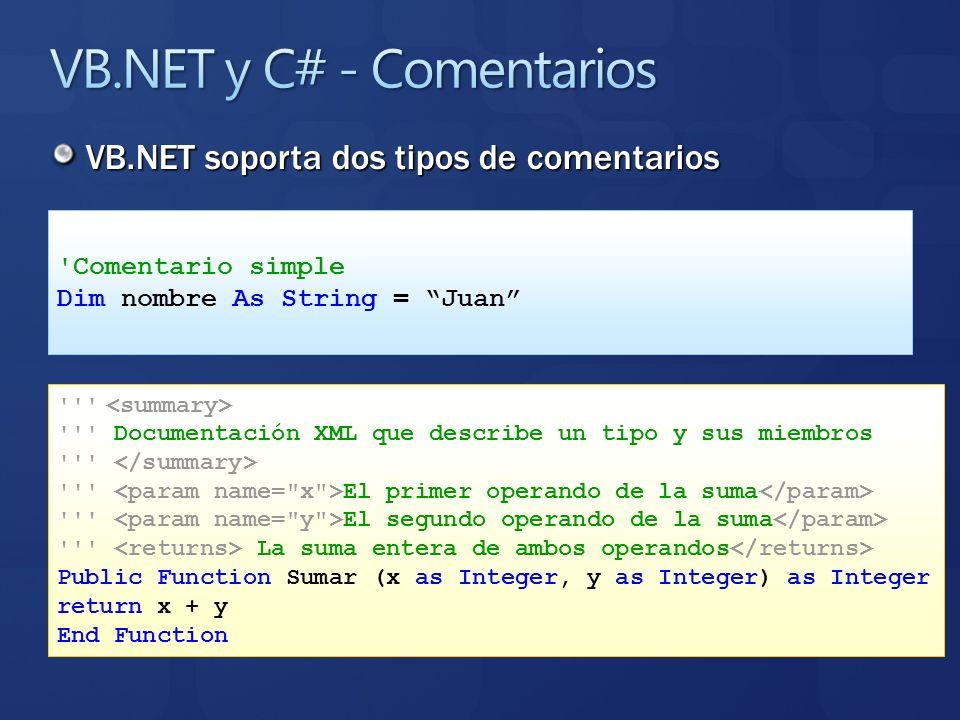 VB.NET soporta dos tipos de comentarios 'Comentario simple Dim nombre As String = Juan ''' ''' Documentación XML que describe un tipo y sus miembros '