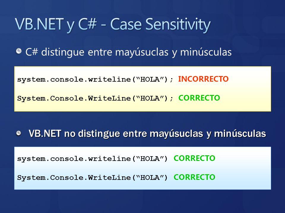 C# distingue entre mayúsuclas y minúsculas VB.NET no distingue entre mayúsuclas y minúsculas system.console.writeline(HOLA); INCORRECTO System.Console