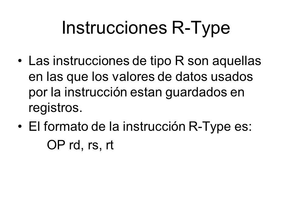 Instrucción R-Type Opcodersrtshiftfunct Opcode: The opcode is the machinecode representation of the instruction mneumonic.