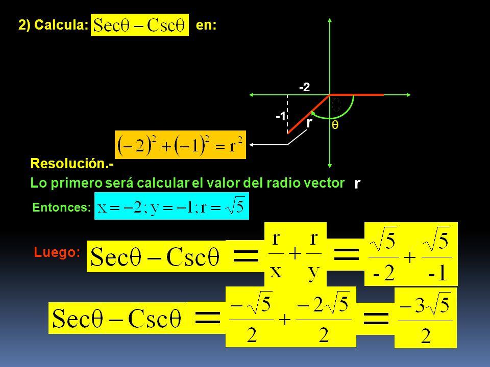 2) Calcula:en: -2 Resolución.- Lo primero será calcular el valor del radio vector r r Entonces: Luego: θ