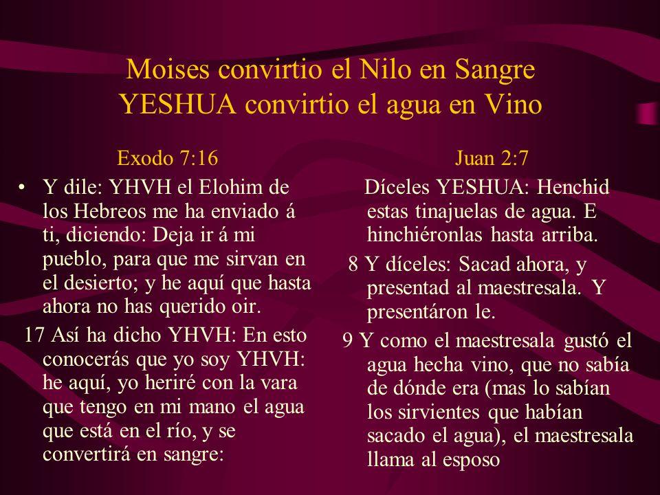 Moises convirtio el Nilo en Sangre YESHUA convirtio el agua en Vino Exodo 7:16 Y dile: YHVH el Elohim de los Hebreos me ha enviado á ti, diciendo: Dej