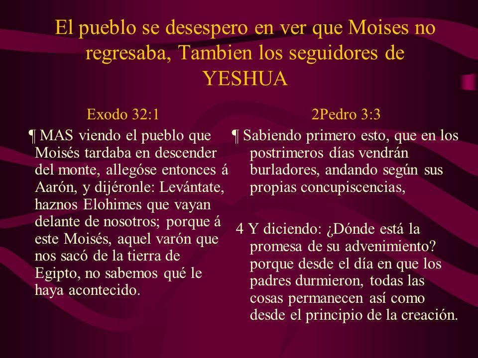 El pueblo se desespero en ver que Moises no regresaba, Tambien los seguidores de YESHUA Exodo 32:1 ¶ MAS viendo el pueblo que Moisés tardaba en descen