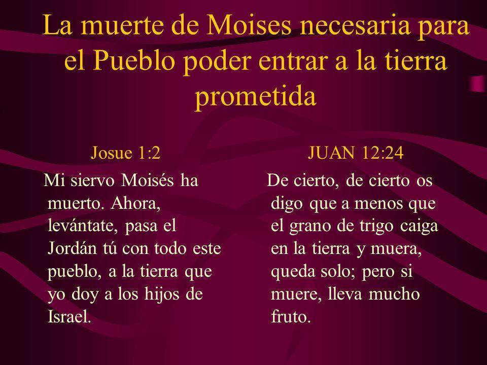 La muerte de Moises necesaria para el Pueblo poder entrar a la tierra prometida Josue 1:2 Mi siervo Moisés ha muerto. Ahora, levántate, pasa el Jordán