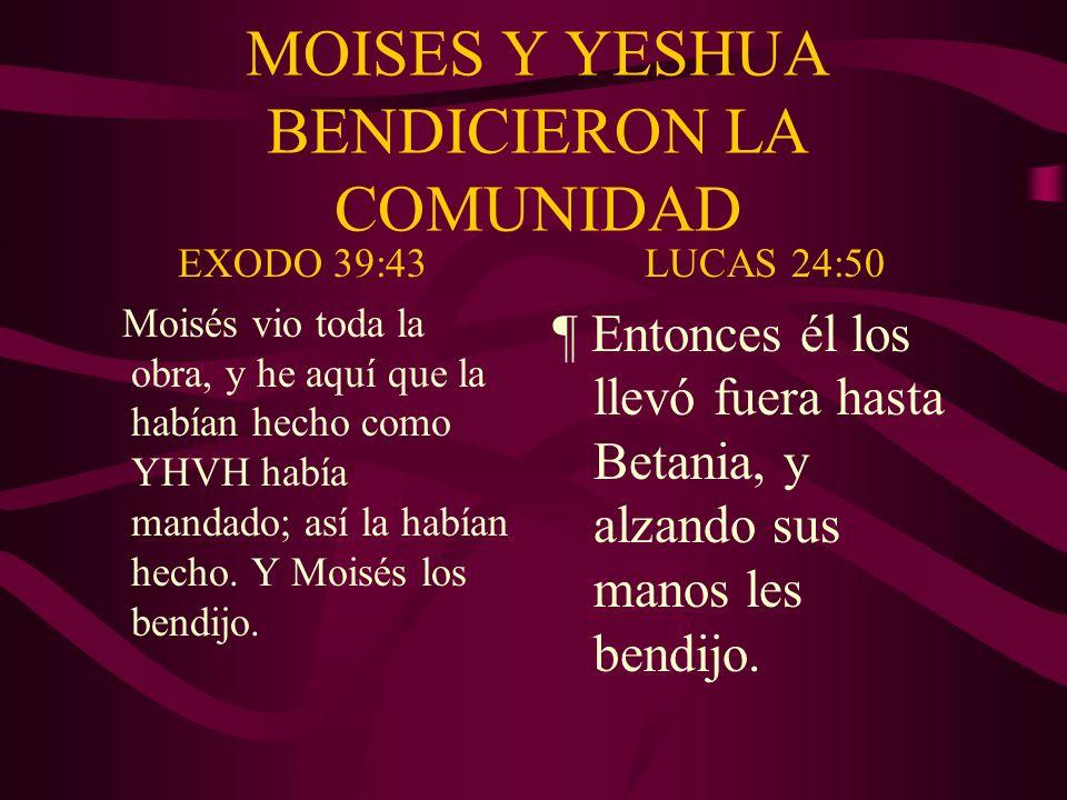 MOISES Y YESHUA BENDICIERON LA COMUNIDAD EXODO 39:43 Moisés vio toda la obra, y he aquí que la habían hecho como YHVH había mandado; así la habían hec