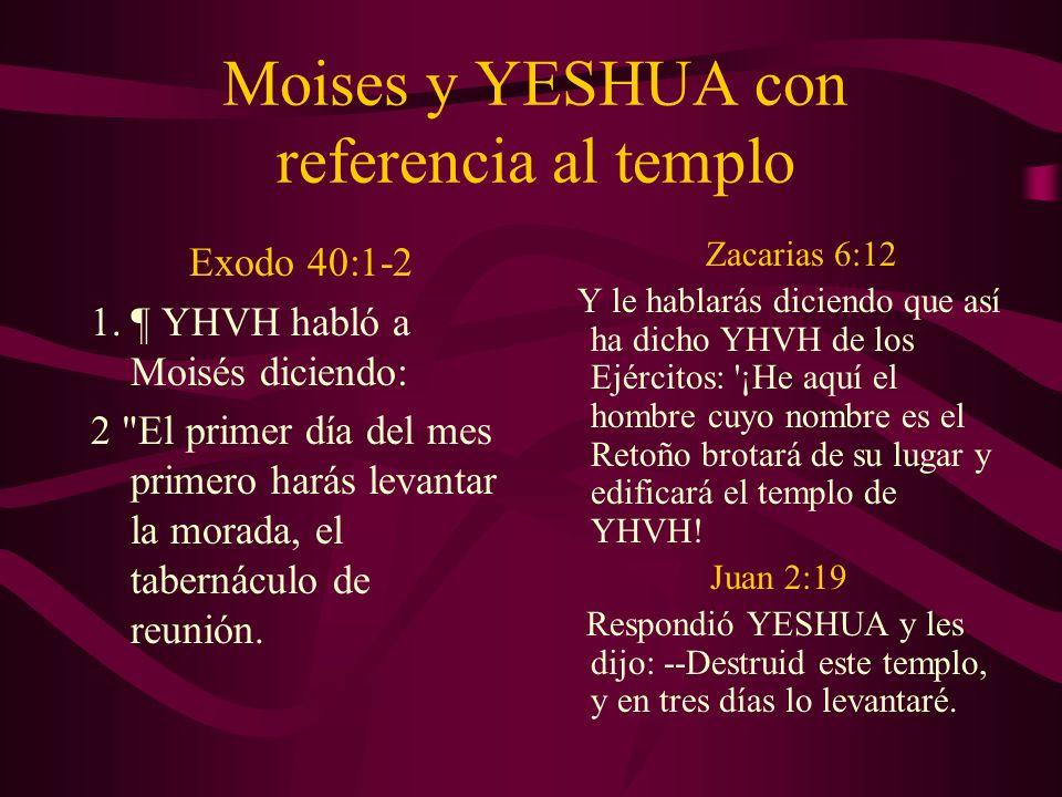 Moises y YESHUA con referencia al templo Exodo 40:1-2 1. ¶ YHVH habló a Moisés diciendo: 2